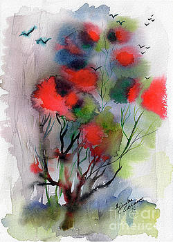 Abstract Poinciana Tree Watercolor by Ginette Callaway