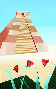 Abstract Pyramid Acrylic Painting by Artist Mark Webster by Mark Webster