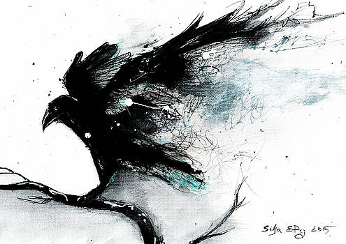 Abstract raven ink painting by Silja Erg