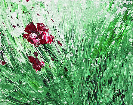 Abstract Red Flower by Gaynell Parker