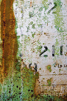 Rust Absract with Stenciled Numbers by Sharon Foelz