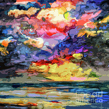 Abstract Seascape Sunrise by Ginette Callaway