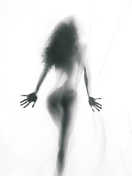 Abstract sensual woman silhouette behind white sheer curtain by Oleksiy Maksymenko