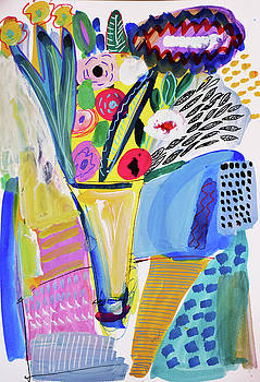 Abstract still life with flowers by Amara Dacer