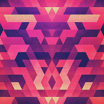 Abstract Symertric geometric triangle texture pattern design in diabolic magnet future red by Philipp Rietz