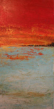 Abstract Teal Gold Red Landscape by Alma Yamazaki