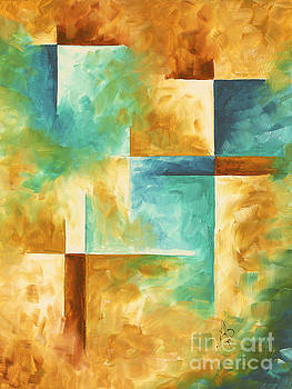 Abstract Teal Golden Rust Minimalist Contemporary PoP Art Painting Aqua Maze I by MADART by Megan Duncanson