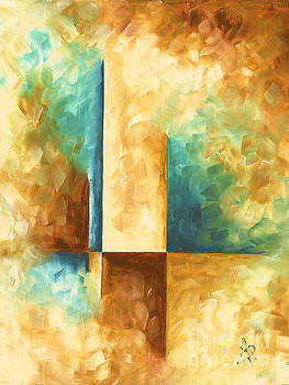 Abstract Teal Golden Rust Minimalist Contemporary PoP Art Painting Aqua Maze II by MADART by Megan Duncanson