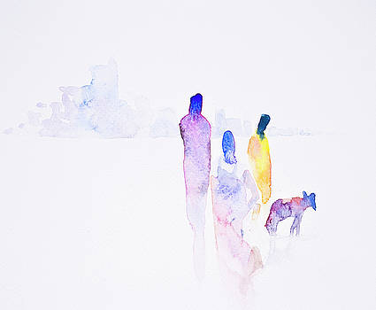 Abstract urbaan lifestyle watercolor hand painted background by Nutdanai Apikhomboonwaroot