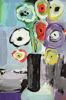 Abstract vase of flowers II by Amara Dacer