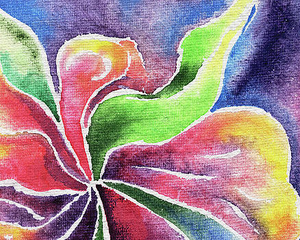 Abstract Watercolor Flower Lily And Orchid by Irina Sztukowski