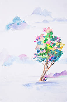 Abstract watercolor hand painted background by Nutdanai Apikhomboonwaroot