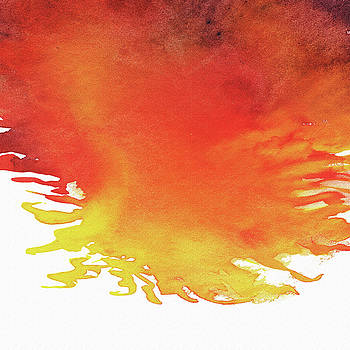 Abstract Watercolor Wash And Splash Hot Yellow And Red by Irina Sztukowski