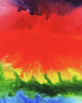 Abstract Watercolor Wash And Splash Rainbow Ocean by Irina Sztukowski
