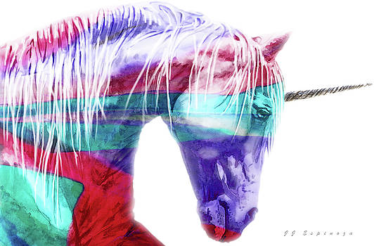 Abstract Unicorn  I V by J- J- Espinoza