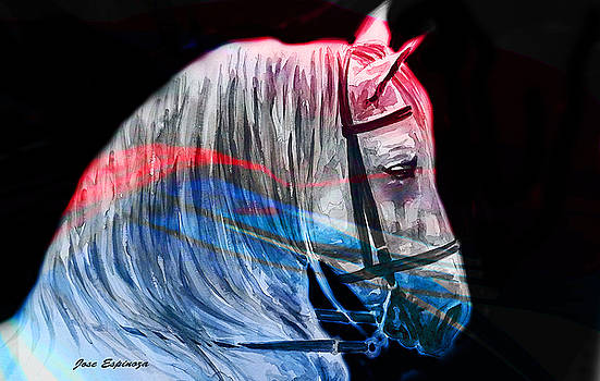Abstract White Horse 53 by Jose Espinoza