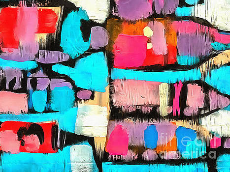 Abstract Wine Bottles Blue Red by Edward Fielding