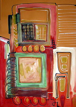Abstract With Yellow Chair  by Therese AbouNader