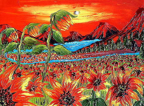 Abstract World Of The Sunflower by Portland Art Creations