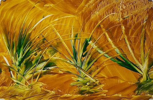 Abstract yellow, green fields   by Lorraine Bradford