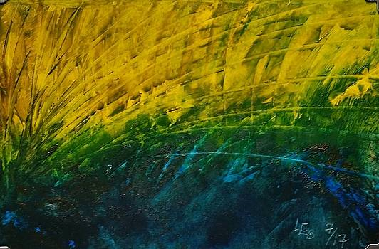 Abstract yellow, green with dark blue.   by Lorraine Bradford