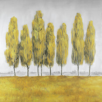 Abstract Yellow Trees by Atelier B Art Studio