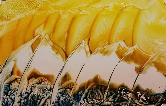 Abstract yellow, white waves and sails by Lorraine Bradford