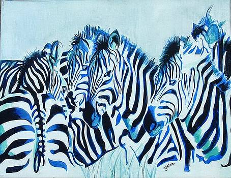 Abstract Zebras by Gwendolyn Frazier