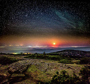 Acadia Foggy Moon by Brent L Ander