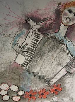Accordion player. Six stones.  by Michael Sime