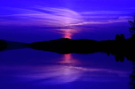 Achray Sunset in Blue, Grand Lake, Algonquin Park by David Porteus