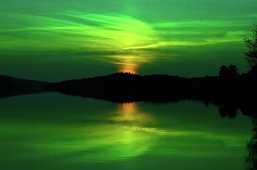 Achray Sunset in Green, Grand Lake, Algonquin Park by David Porteus