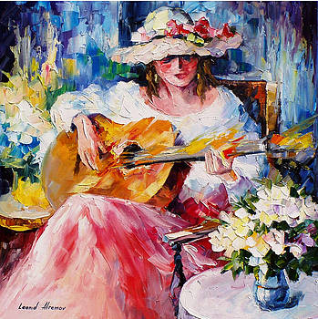 Acoustic Music - PALETTE KNIFE Oil Painting On Canvas By Leonid Afremov by Leonid Afremov
