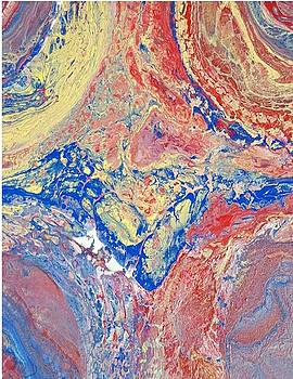 Acrylic Dirty Pour using blue red and yellow by Cynthia Silverman