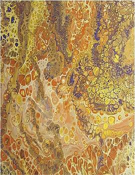 Acrylic Dirty Pour with Browns, yellows, orange, gold and purple by Cynthia Silverman