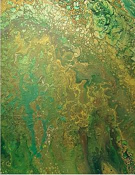Acrylic Dirty Pour with Greens browns gold copper by Cynthia Silverman