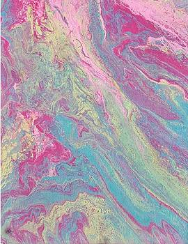 Acrylic Dirty Pour with pinks aquas and yellow by Cynthia Silverman