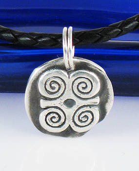 Adinkra Fine Silver Pendant - Ram's Horns - Symbol of Humility and Strength by Vagabond Folk Art - Virginia Vivier