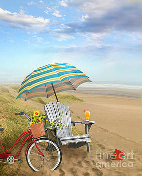 Sandra Cunningham - Adirondack chair with bicycle and umbrella by the seaside