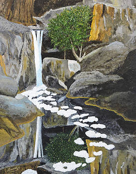 Adobe Falls the painting by L J Oakes
