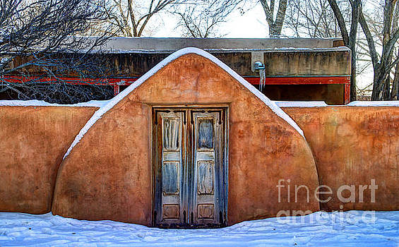 Adobe Wall in the Snow, Galisteo New Mexico by David Daniel