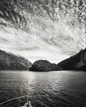 Adventure Cruise at Doubtful Sound in black and white by Daniela Constantinescu
