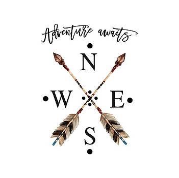 Adventure waits Typography Arrows Compass Cardinal Directions by Georgeta Blanaru