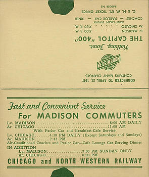 Chicago and North Western Historical Society - Advertisement for Madison-Chicago Commuter Service