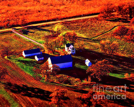 Aerial Farm Houses Out Buildings Autumn Long Shadows Colors by Tom Jelen