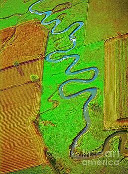 Aerial Farm Stream Pasture fields by Tom Jelen