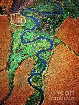 Aerial Farm Wet Lands Stream  by Tom Jelen