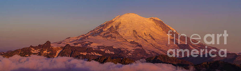 Aerial Golden Mount Rainier Morning Alpenglow Panorama by Mike Reid