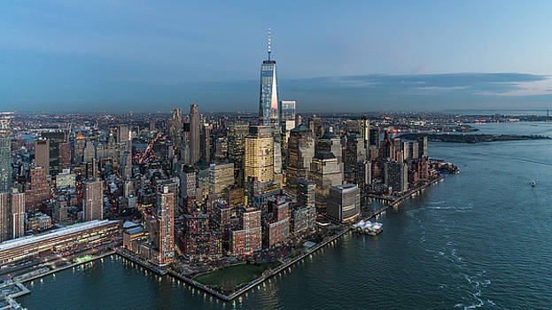 Aerial Lower Manhattan at Twilight by Michael Lee