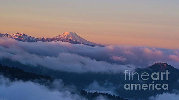 Aerial Mount Adams Above the Clouds at Sunrise by Mike Reid